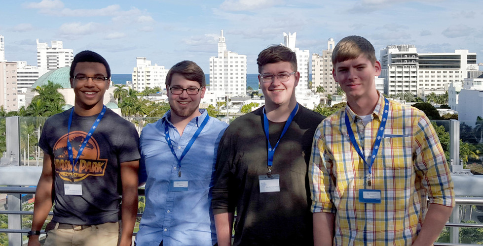 """Lockegee Quartet 2016 on the roof-top garden of the New World Symphony in Miami Beach as part of a """"behind the scenes"""" tour"""