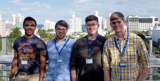 "Lockegee Quartet 2016 on the roof-top garden of the New World Symphony in Miami Beach as part of a ""behind the scenes"" tour"