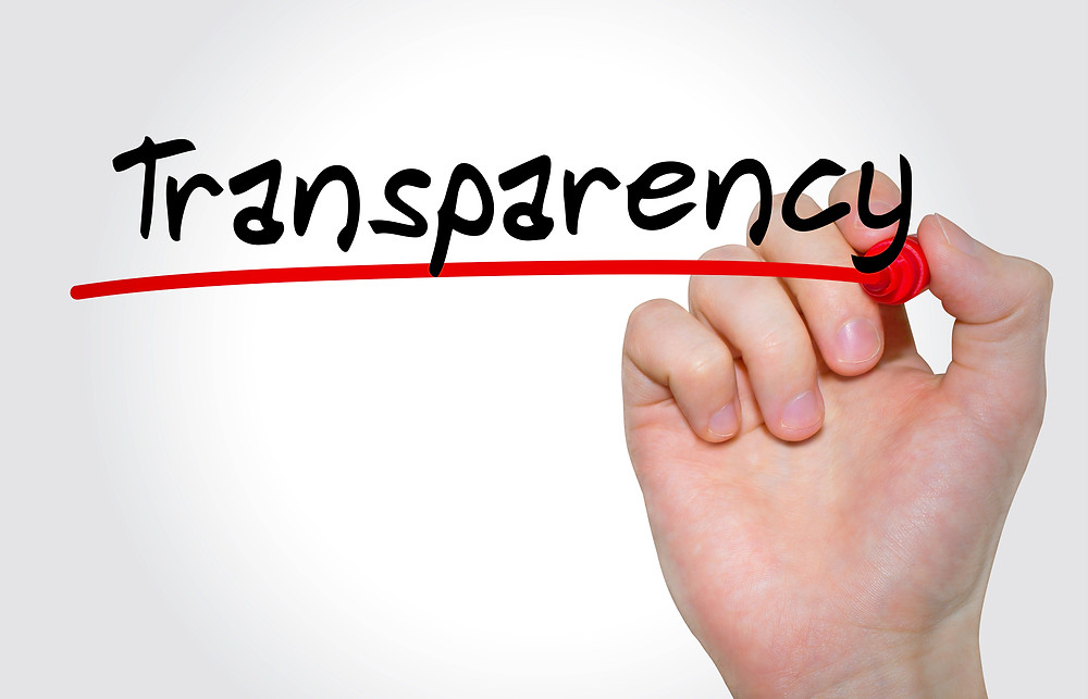 Hand writing the word transparency