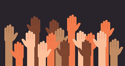 Illustration of diverse hands raised