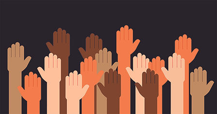 Racially diverse hands raised