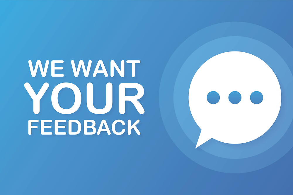Illustration of a speech bubble asking for feedback