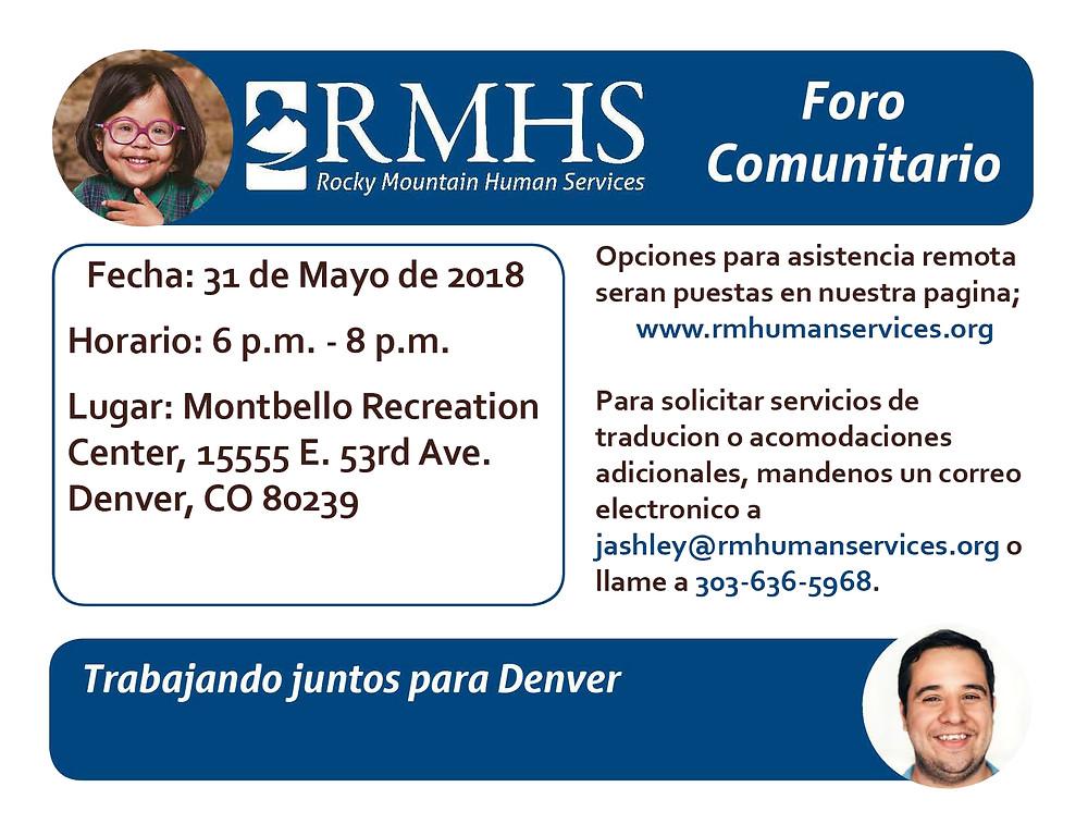 El 31 de mayo, únase a RMHS en Montbello para participar en el Foro de la Comunidad