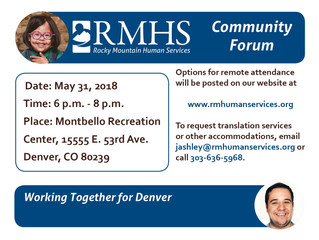 Join RMHS in Montbello on May 31 for a Community Forum