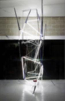 Deconstructing The Ivory Tower. Light art, Ian Barrington. 2018