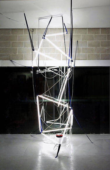 Deconstructing The Ivory Tower. Light art, Ian Barrington. 2018