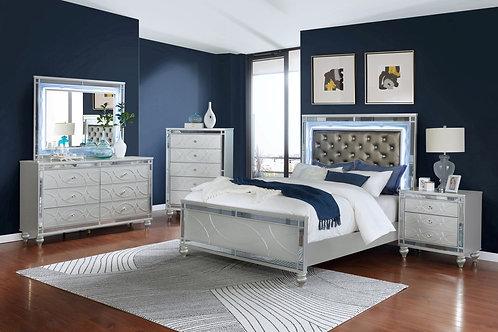 Gunnison 4-Piece Queen Bedroom Set With LED Lighting Silver Metallic