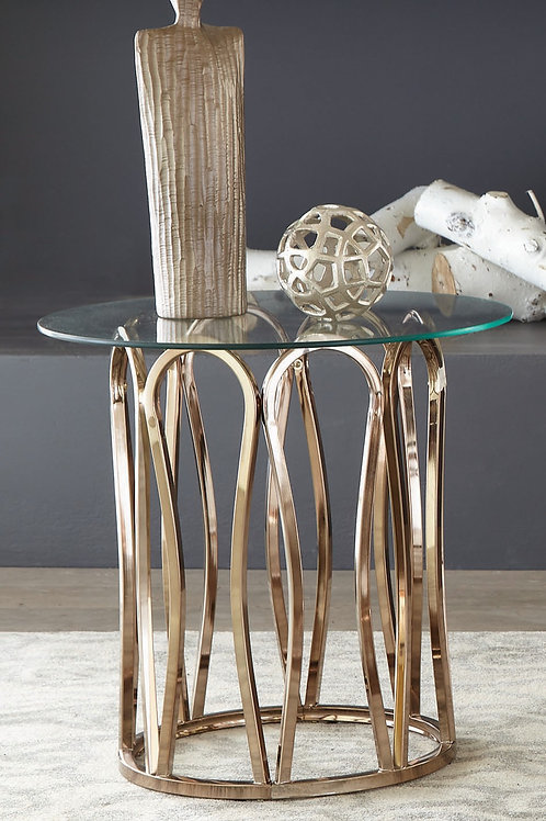 Round End Table Chocolate Chrome And Clear