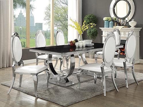 Antoine Rectangular Dining table Chrome And Black