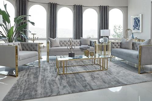 Glam Grey Velvet Sofa Set