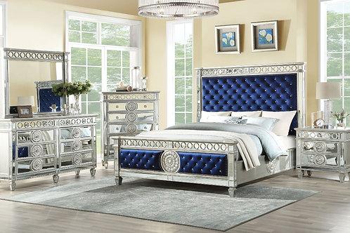 Varian Bed Blue Velvet & Mirrored Queen
