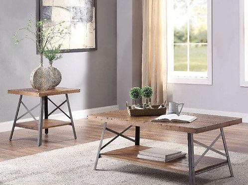 Ikram 2 Table Set Weathered Oak & Sandy Black