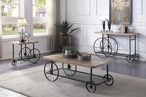 Francie 3 Table Set -  Oak & Antique Gray