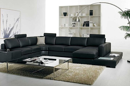 Leather Sectional with Headrest,​  Light and Arm Ledge