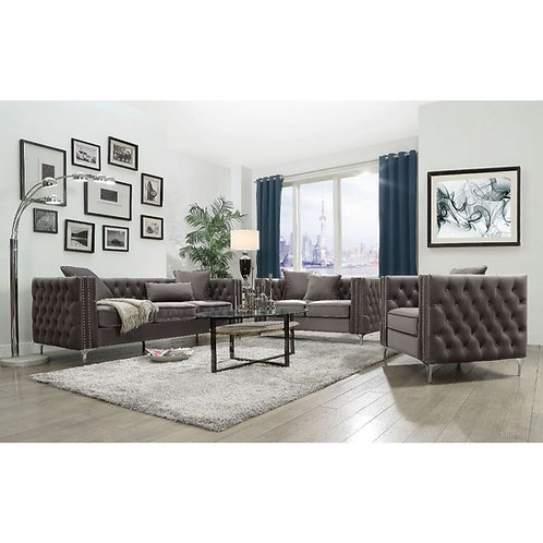 Gillian II Dark Gray Velvet  Sofa and Love seat