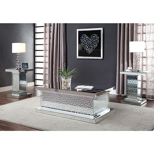 Nysa Coffee Table - Mirrored & Faux Crystals