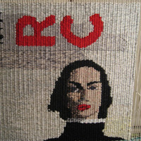 Red Lip Ready, woven tapestry by Mardi N