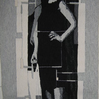 Shopping Girl, woven tapestry by Mardi N
