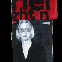 Reese With Red Bag, woven tapestry by Ma