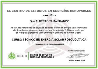 Diploma Fotovoltaica - Alberto Tama Fran