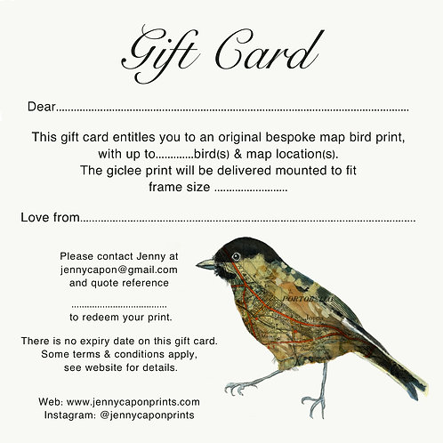 "Gift Card - Bespoke Print, up to 4 small, or 2 large birds, mounted to 12""x16"""