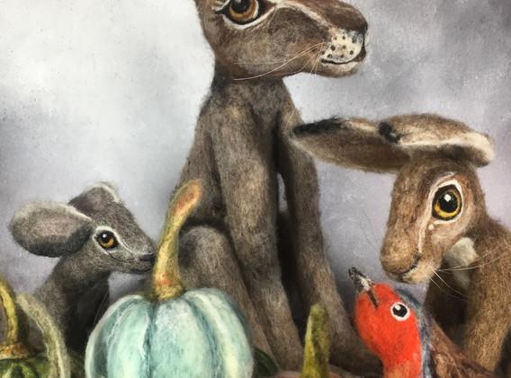 Hares, Robin, Pumpkin.