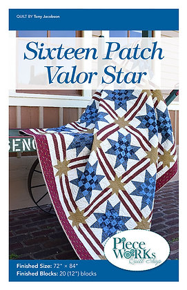 """Sixteen Patch Valor Star"" Quilt Pattern pdf"