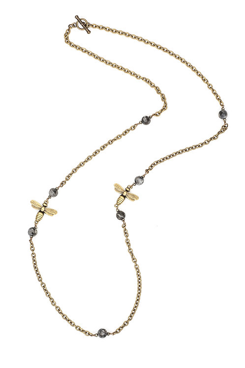 CABLE CHAIN WITH SANDBLAST BLACK LABRADORITE ACCENTS AND MIEL PENDANTS  CABLE CH