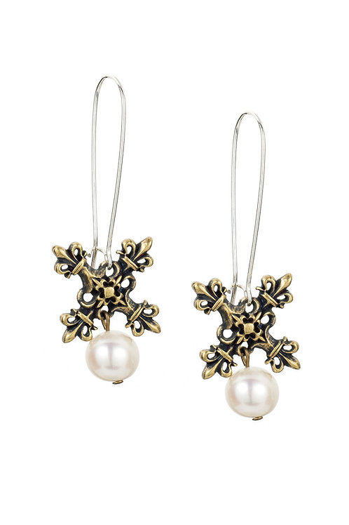 DROP EARRINGS WITH X PENDANTS AND PEARL