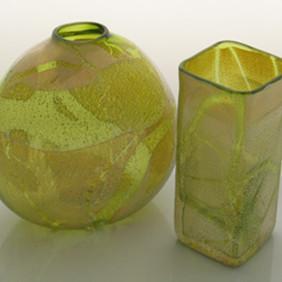 Green Box Vase And Flattened Saki Vase