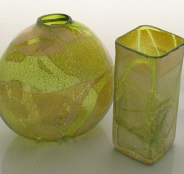 Green Box Vase And Flattened Saki Vase