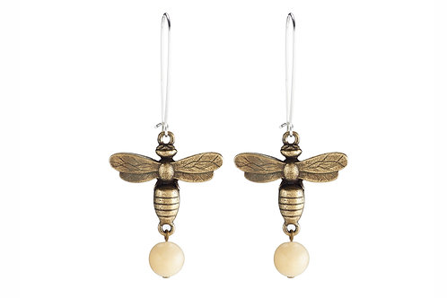 DROP EARRINGS WITH MIEL PENDANTS AND YELLOW JADE