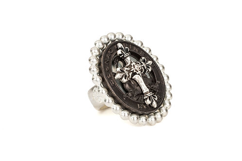 PETITE BEZEL RING WITH BLACK PINEAU CROSS STACK MEDALLION