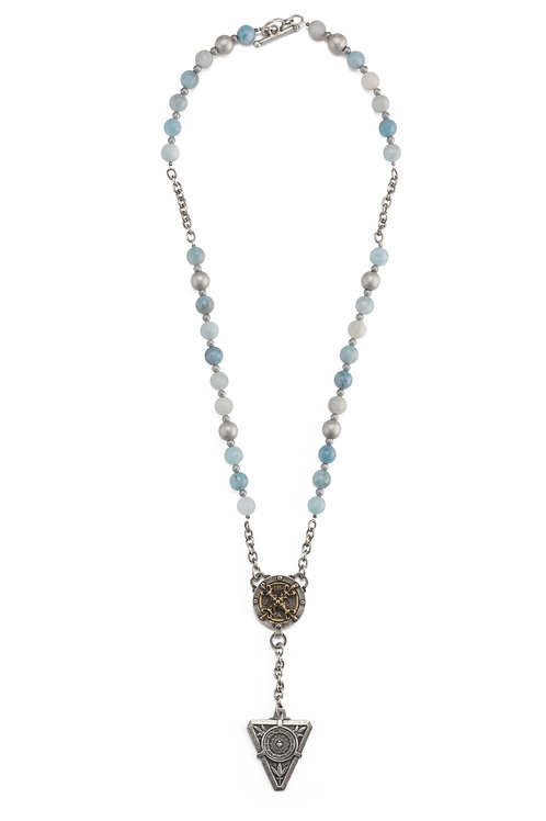 FACETED AQUAMARINE AND HEMATITE ACCENTS WITH X AND DE LA VILLE MEDALLIONS
