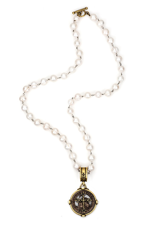 PEARLS WITH SILVER WIRE AND BLACK PINEAU CROSS STACK MEDALLION
