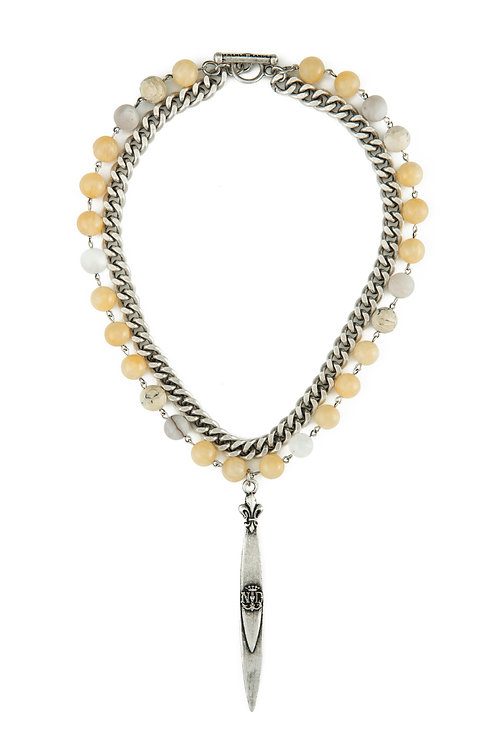 DOUBLE STRAND DAFFODIL MIX WITH SILVER WIRE, BEVEL CHAIN AND POINTU PENDANT