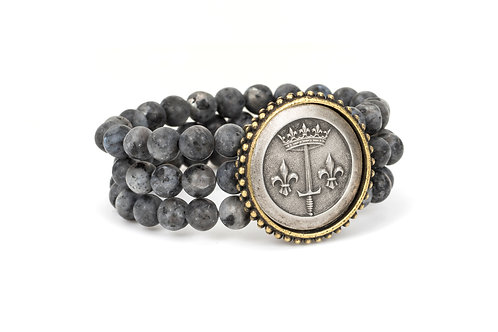 TRIPLE STRAND SANDBLAST BLACK LABRADORITE WITH LA JEANNE MEDALLION