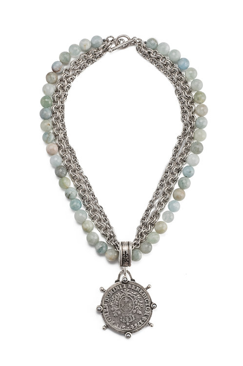 TRIPLE STRAND FACETED AQUAMARINE AND CHAINS WITH DOMINI MEDALLION