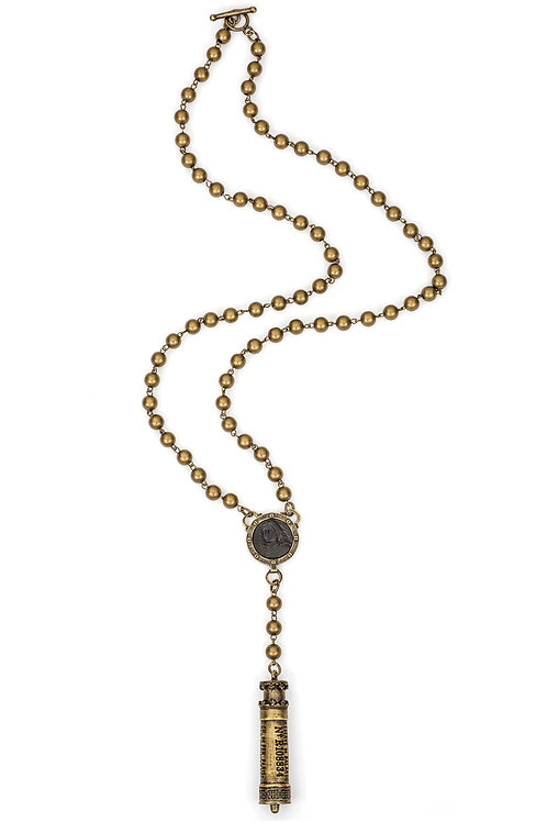 BRASS METAL BEAD WITH BRASS WIRE, BLACK PETITE JOAN MEDALLION AND CHEMIN DE FER
