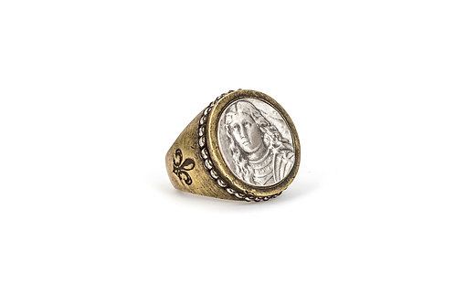 SWAROVSKI SIGNET RING WITH PETITE JOAN MEDALLION