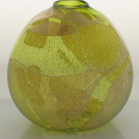 Flattened Green Saki Vase