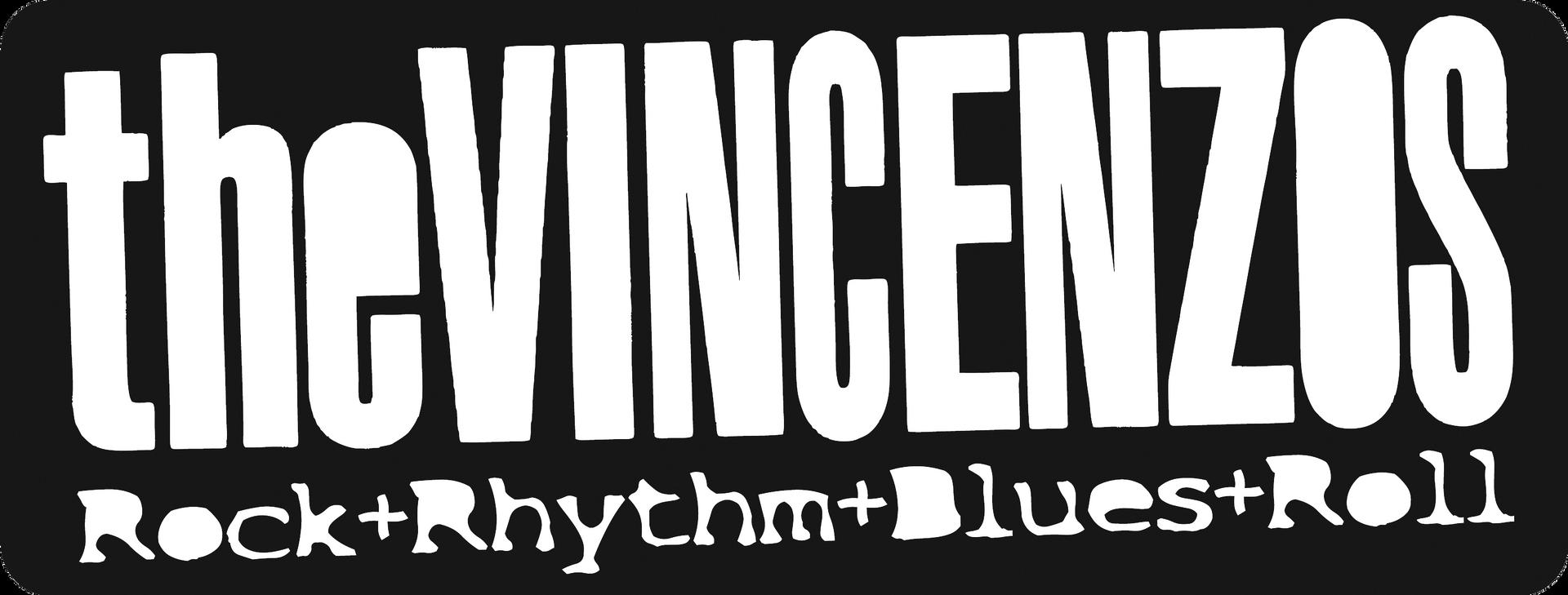 Vincenzos-Label weiss auf Schwarz