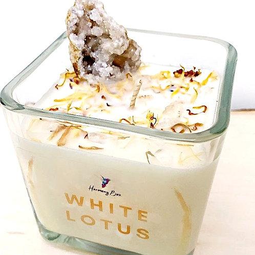 White Lotus Crystal Candle