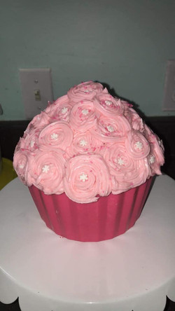 Gâteau réaliser Gros muffin rose