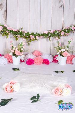 Guirlande fleurs rose