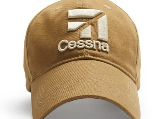 CESSNA 3D LOGO CAP, TAN/WHITE/NAVY - Made of 100% brushed cotton twill.