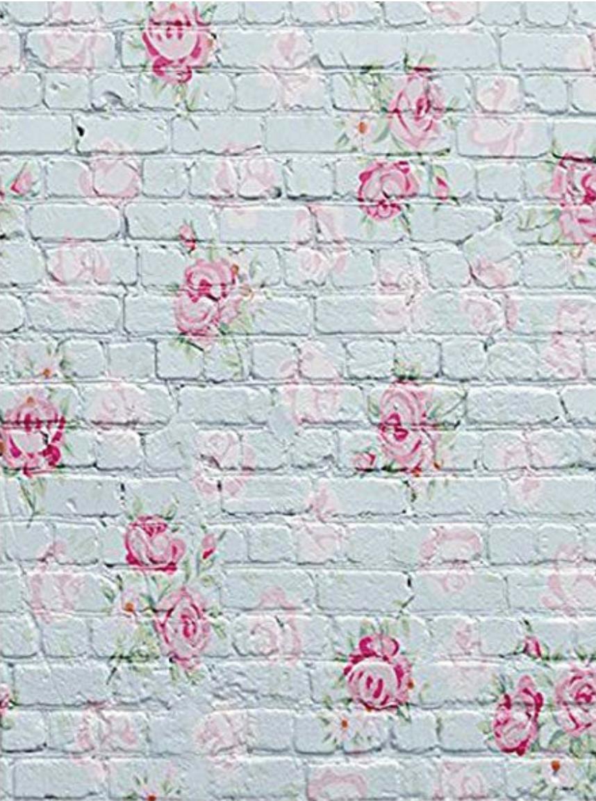Brique fleurs rose 3X5
