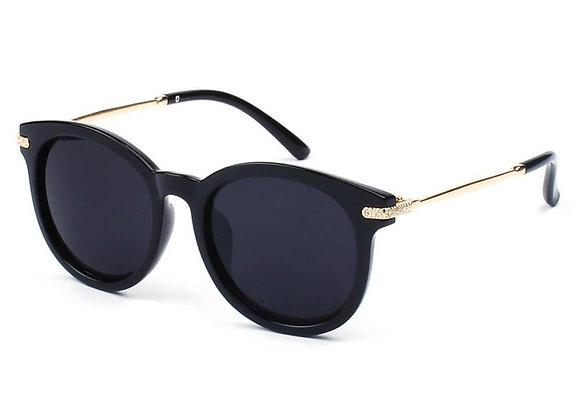 BRUSSELS   289 - Round P3 Horn Rimmed Sunglasses With Embossed Hinges