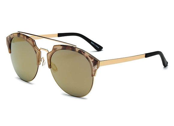 COROLLA | CA15 - Half Frame Mirrored Lens Horned Rim Sunglasses Circle