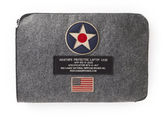 US ROUNDEL LAPTOP CASE - 100% grey felt.